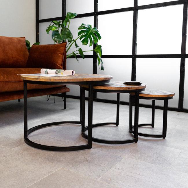 Nolan Table Basse Ø63 / 53 / 41 cm Industriel - Bois Massif