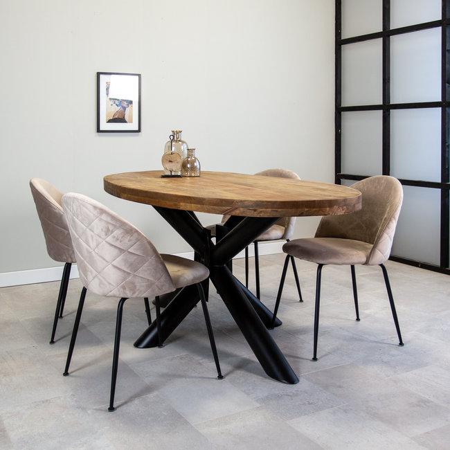 Dimehouse Dakota Table À Manger Industrielle Ovale 180x95 cm