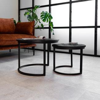 Dimehouse Calla Noir Table Basse Industrielle Ronde Double Plateau