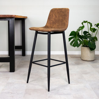Dimehouse Jaxx Tabouret De Bar Industriel Brun