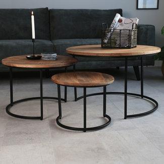 Dimehouse Ivy Table Basse Industrielle Ø77 / 56 / 43 cm - Bois Massif Rondes Set De 3