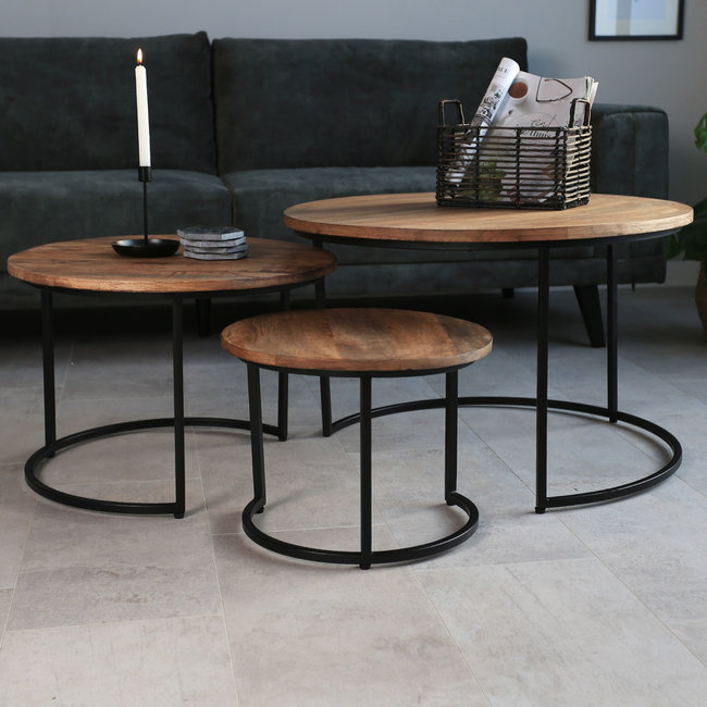 Dimehouse Ivy Table Basse Industrielle Ø77 / 56 / 43 cm - Bois Massif Rondes Set De 3