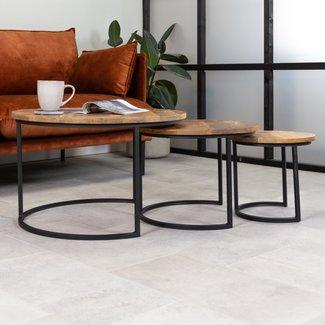 Dimehouse Steve Table Basse Industrielle Ronde  Ø67 / 50 / 35 cm - Bois Massif Set De 3