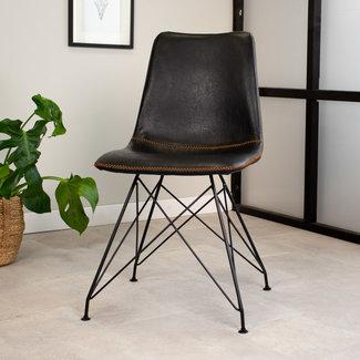 Dimehouse Chaise Salle À Manger Industrielle Noir Viano Premium
