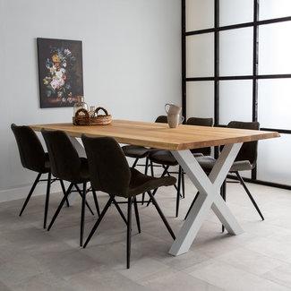 Dimehouse Sibérie Table À Manger Industrielle Troc D'Arbre 140x80 cm Pieds-X Blanc