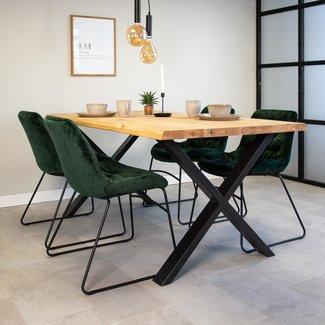 Dimehouse Devin Table À Manger Industrielle 180x95 cm Pieds-X