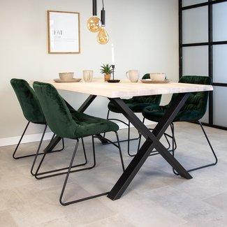 Dimehouse Devin Table À Manger Industrielle Blanc 200x95 cm Pieds-X