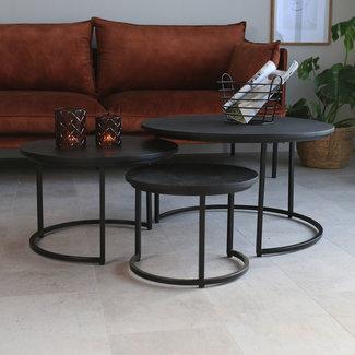 Dimehouse Cedric Table Basse Industrielle Ronde Noir Ø70 / 53 / 40 cm - Bois Massif Set De 3