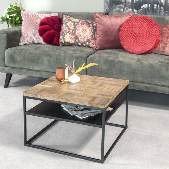 Dimehouse Ruby Table Basse Industrielle Carrée 60x60 cm Bois