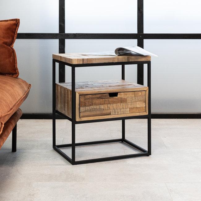 Dimehouse Ruby Table De Chevet Industrielle Bois 1 Tiroir 55 x 45 cm