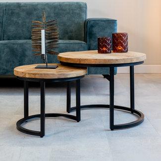 Calla Table Basse Industrielle Ø55 / 42 cm - Bois Massif 3cm