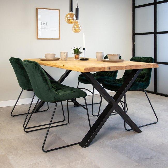 Dimehouse Devin Table À Manger Industrielle 220x100 cm Pieds-X