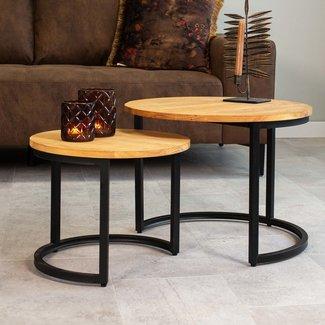 Dimehouse Bowen Table Basse Industrielle Ø58 / 40 cm - Bois Massif Set De 2