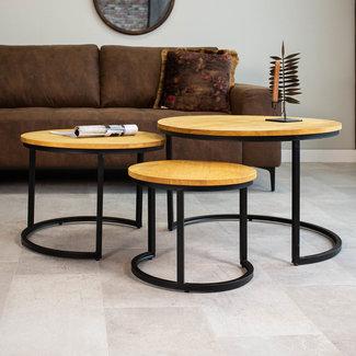 Dimehouse Bowen Table Basse Industrielle Ø72 /57/43 cm - Bois Massif Set De 3