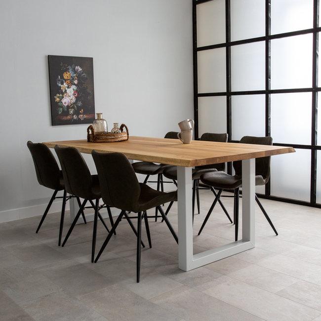 Dimehouse Sibérie Table À Manger Industrielle Troc D'Arbre 220x100 cm Pieds-U Blanc