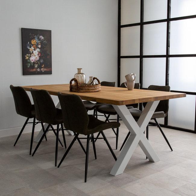 Dimehouse Sibérie Table À Manger Industrielle 220x100 cm Pieds-X Blanc