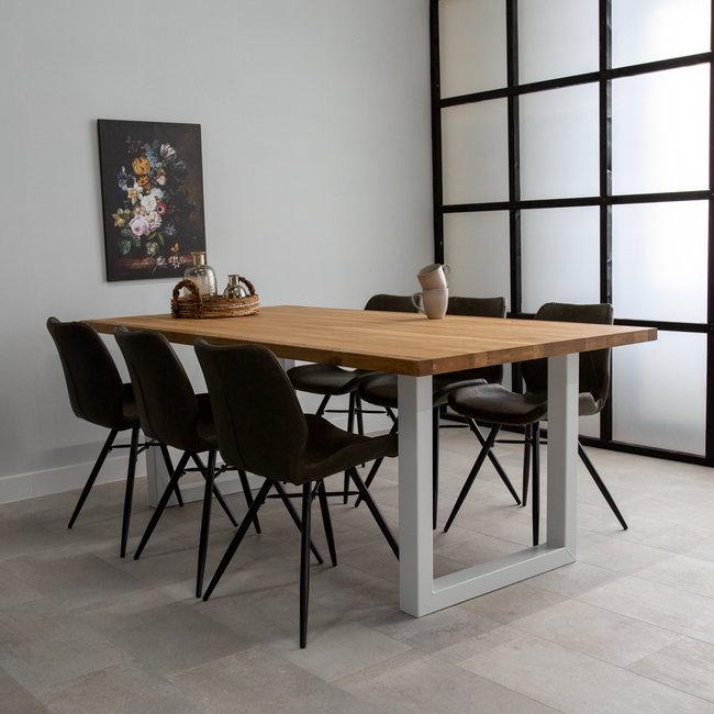 Dimehouse Sibérie Table À Manger Industrielle 240x100 cm Pieds-U Blanc