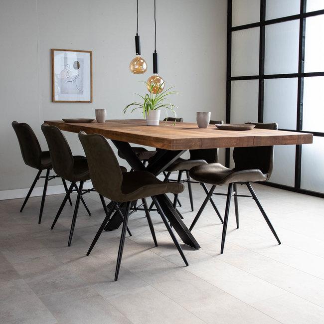 Dimehouse York Table À Manger Industrielle Bois 240x100 cm Pieds-Araigné