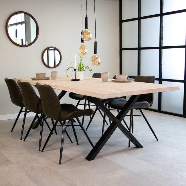 Dimehouse Devin Table À Manger Industrielle Blanc 240x100 cm Pieds-X