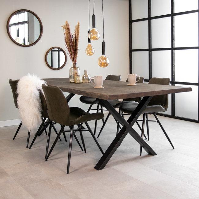 Dimehouse Devin Table À Manger Industrielle Gris 280x100 cm Pieds-X