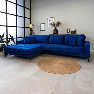Dimehouse Brooks Canapé D'Angle 3 Places Industriel Gauche Velours Bleu