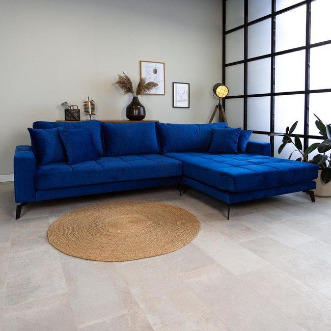 Dimehouse Brooks Canapé D'Angle 3 Places Industriel Droite Velours Bleu