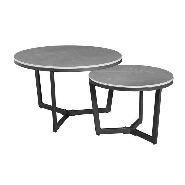 Dimehouse Brady Table Basse Industrielle Marbre Gris