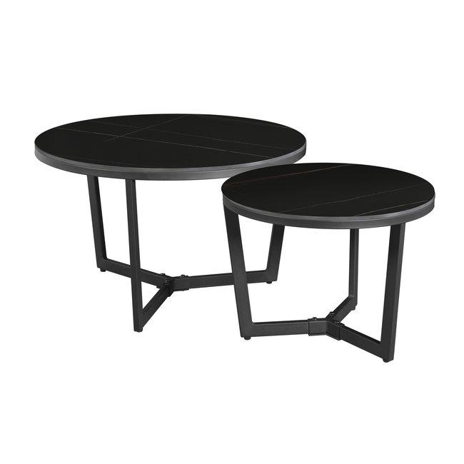 Dimehouse Brady Table Basse Industrielle Marbre Noir