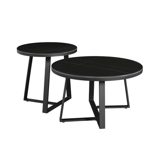 Dimehouse Tanner Table Basse Industrielle Marbre Noir