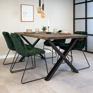 Dimehouse Devin Table À Manger Industrielle Gris 180x95 cm Pieds-X