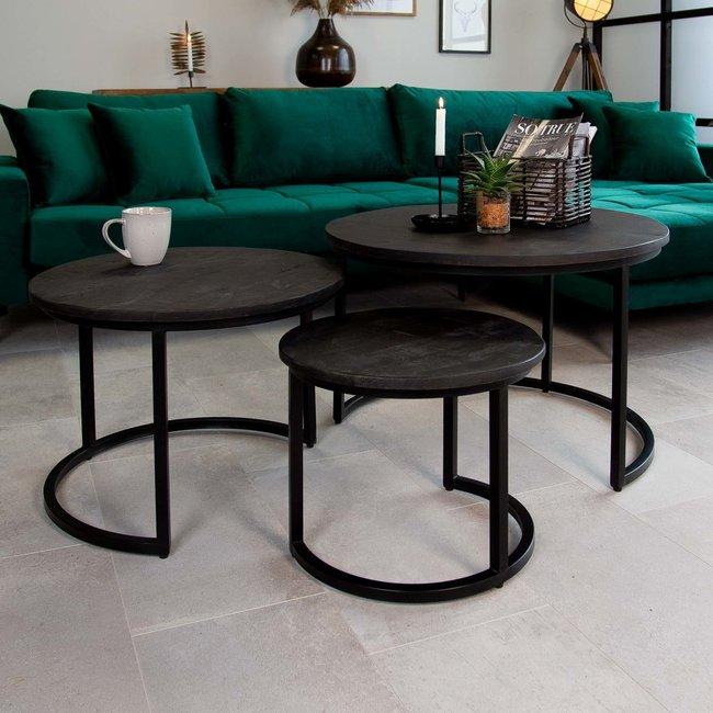 Dimehouse Caleb Noir Table Basse Industrielle Ronde  Ø72 / 57 / 43 cm - Bois Massif Set De 3