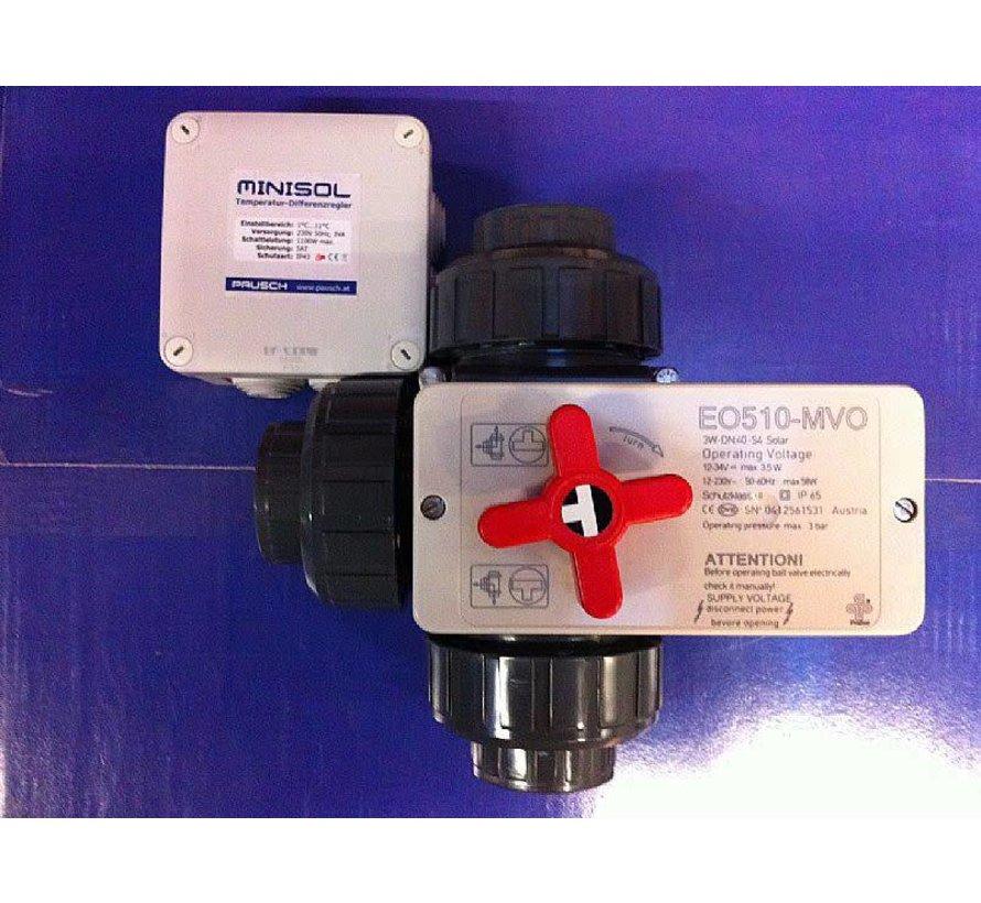 3-wegskraan 50mm met minisol temperatuurscontroller