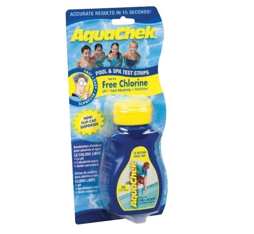 Aquachek Yellow 4-in-1 teststrips, individuele verpakking 1 flesje van 50 strips