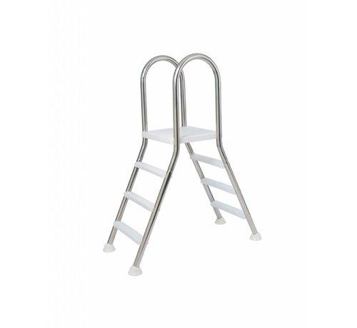 Flexinox Ladder voor opzetbad Inox met platform 2x4 treden