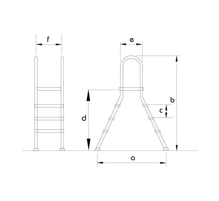 Ladder voor opzetbad Inox met platform 2x4 treden