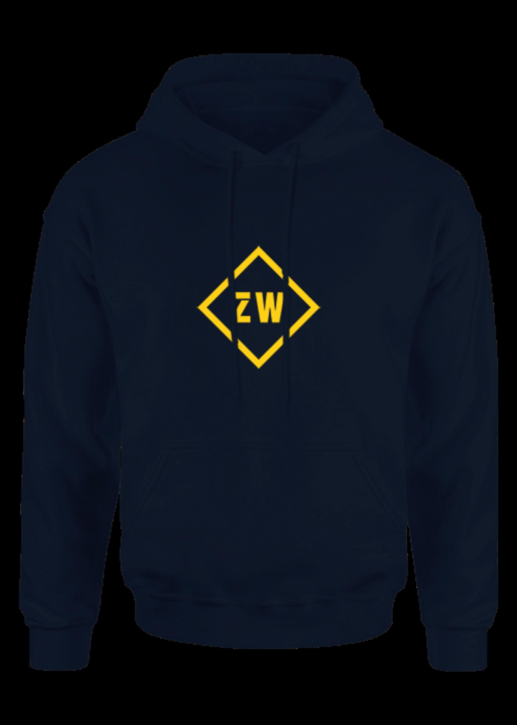 Rebel & Dutch ZwartWit hoodie blauw geel