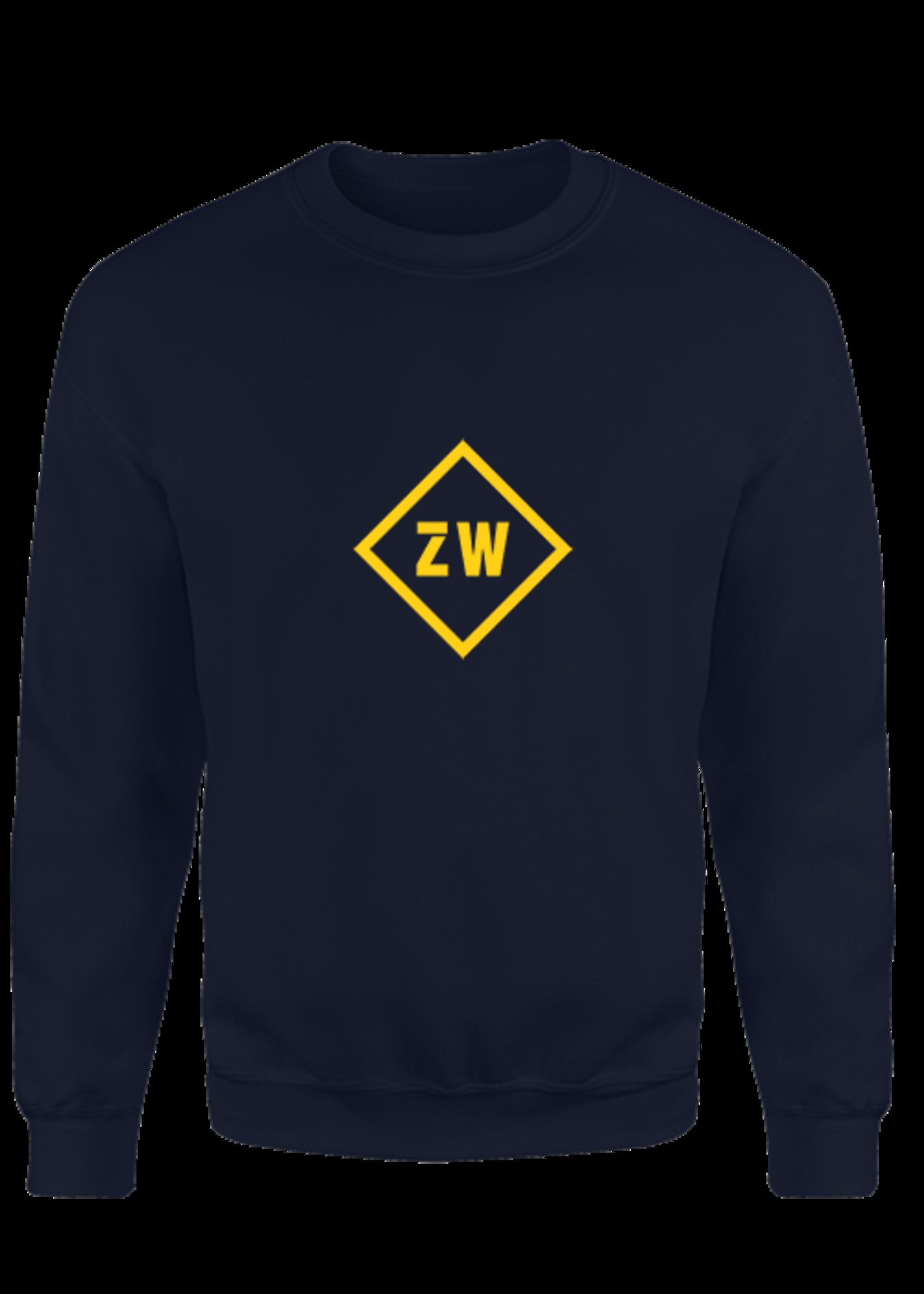 Rebel & Dutch ZwartWit sweater blauw geel