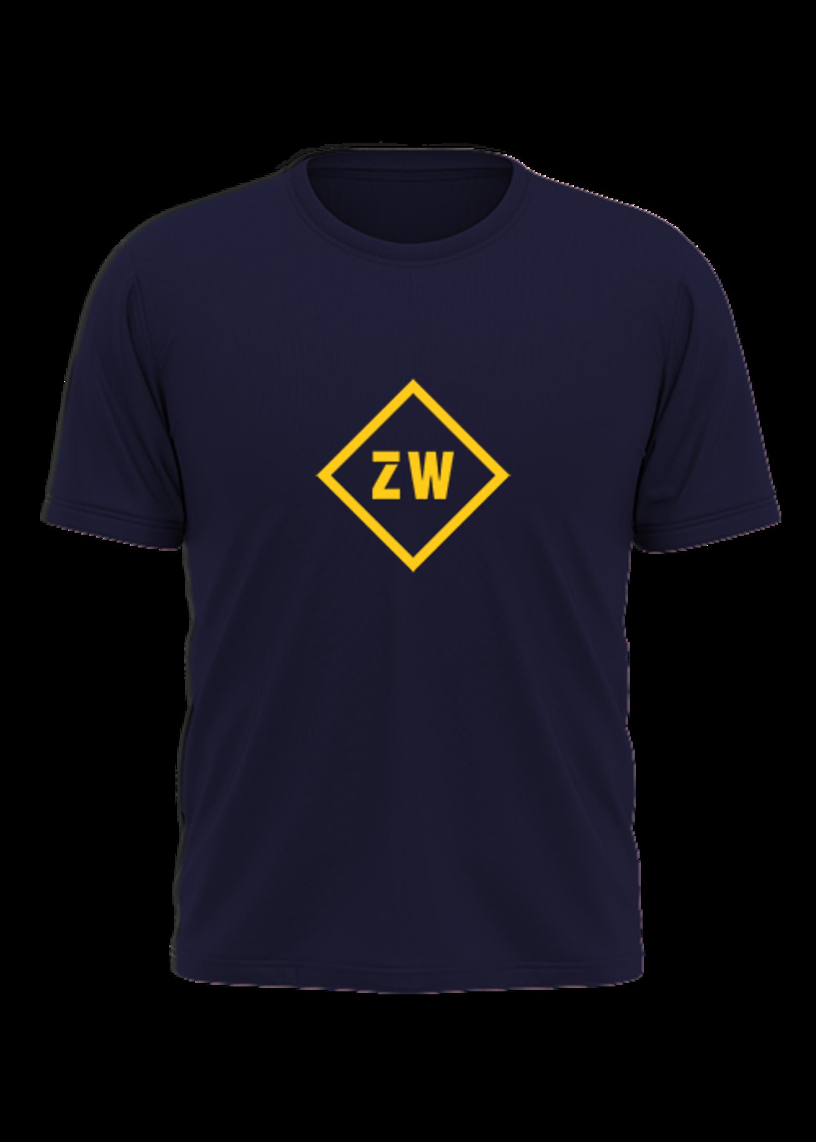 Rebel & Dutch ZwartWit T-shirt blauw geel