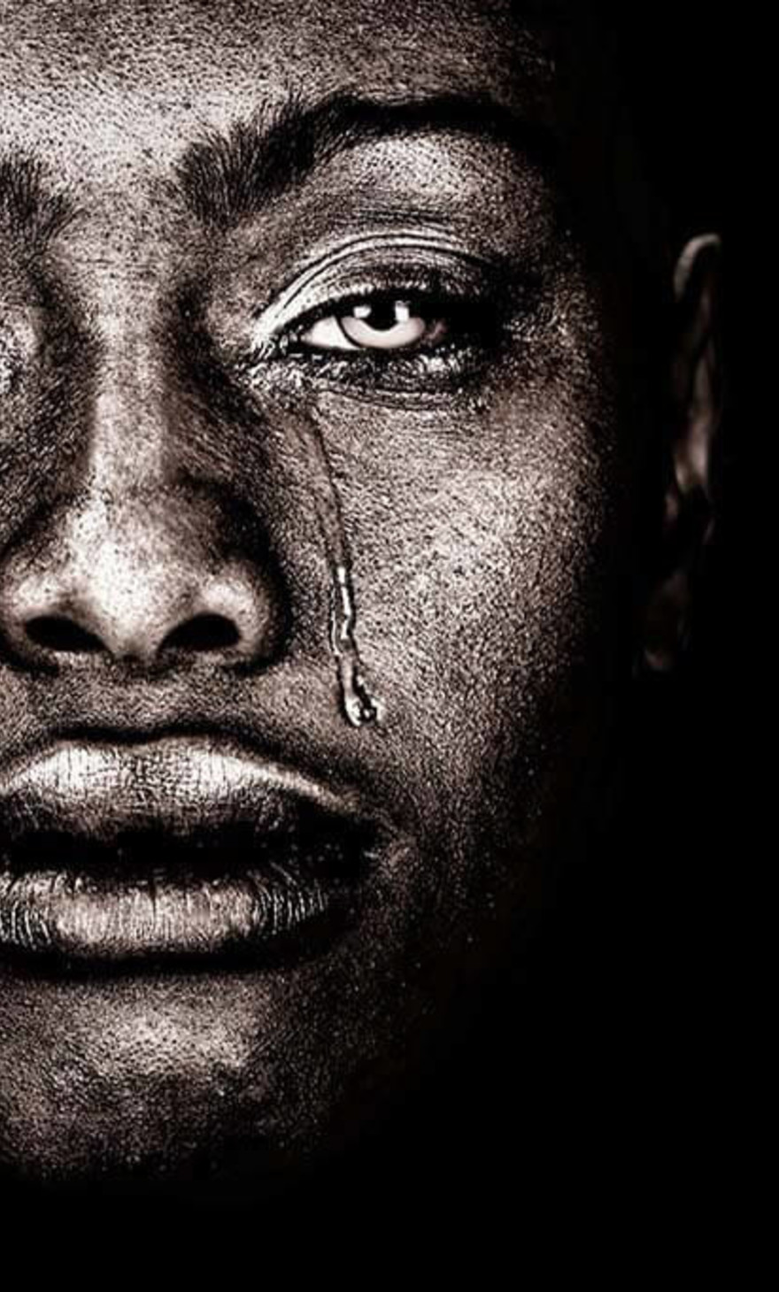 Afro woman tears
