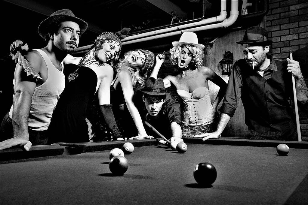 Retro people playing pool-1