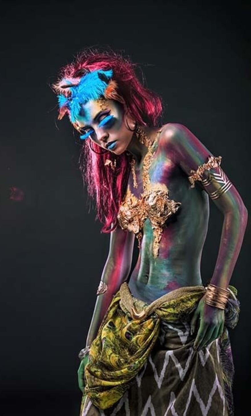 Color paint woman