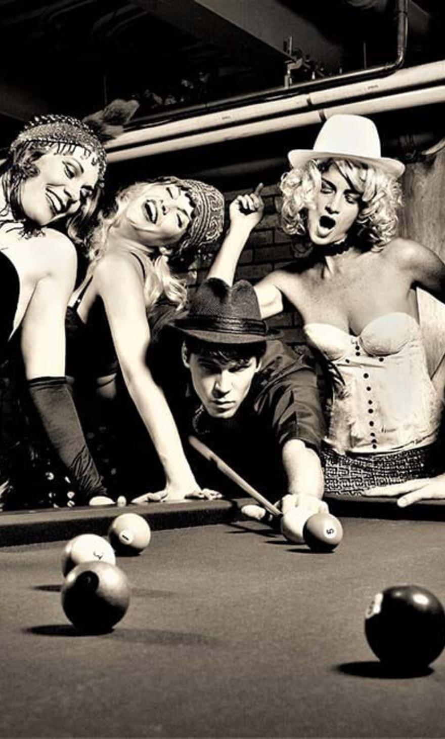 Retro people playing pool