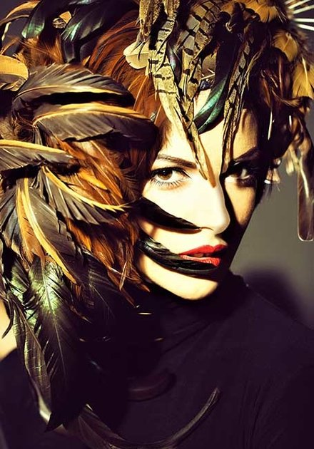 Feather head woman