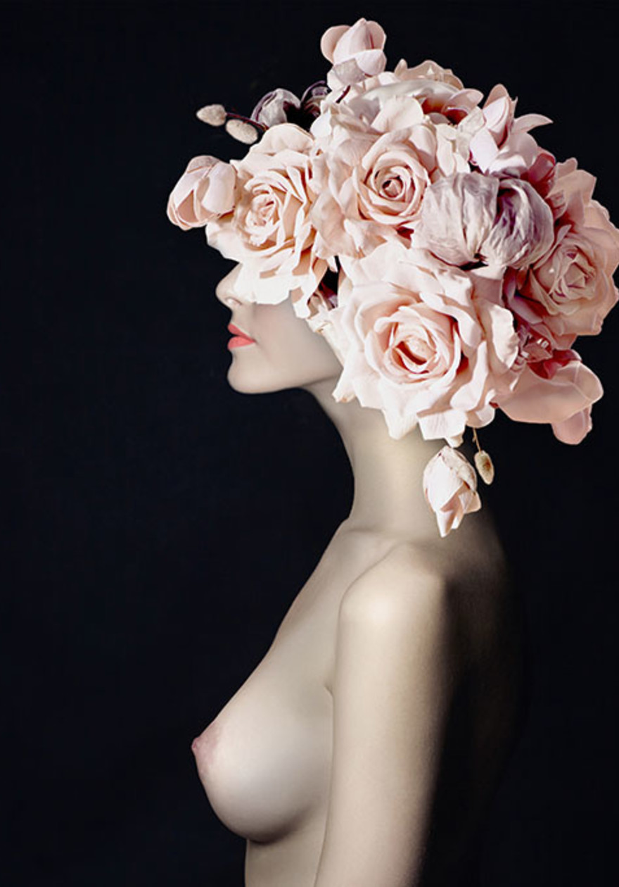 Naked flower woman