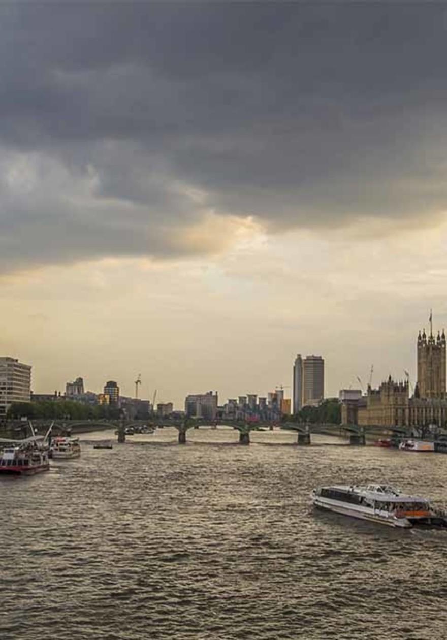 London ferries at twilight