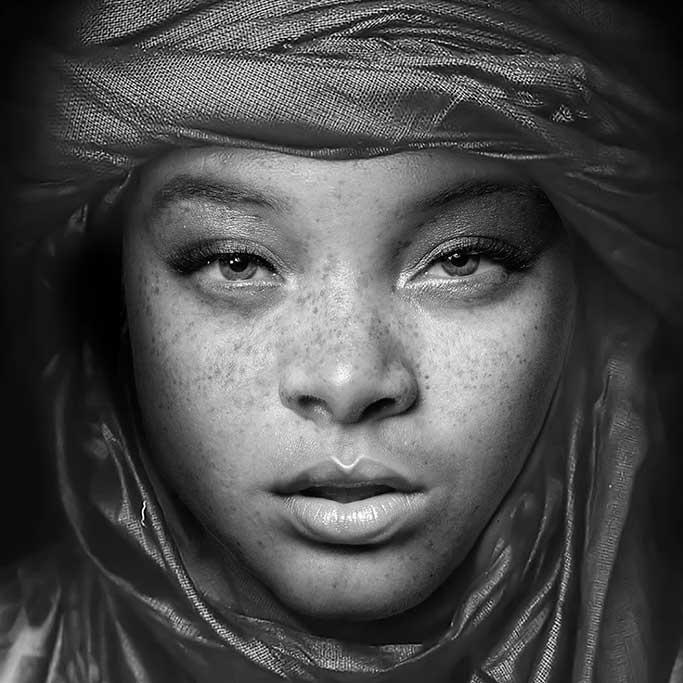 Egyptian girl black and white-1