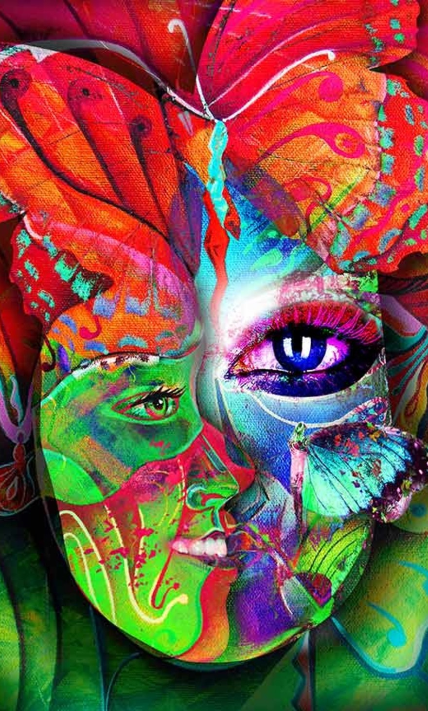 Multiple colorful faces