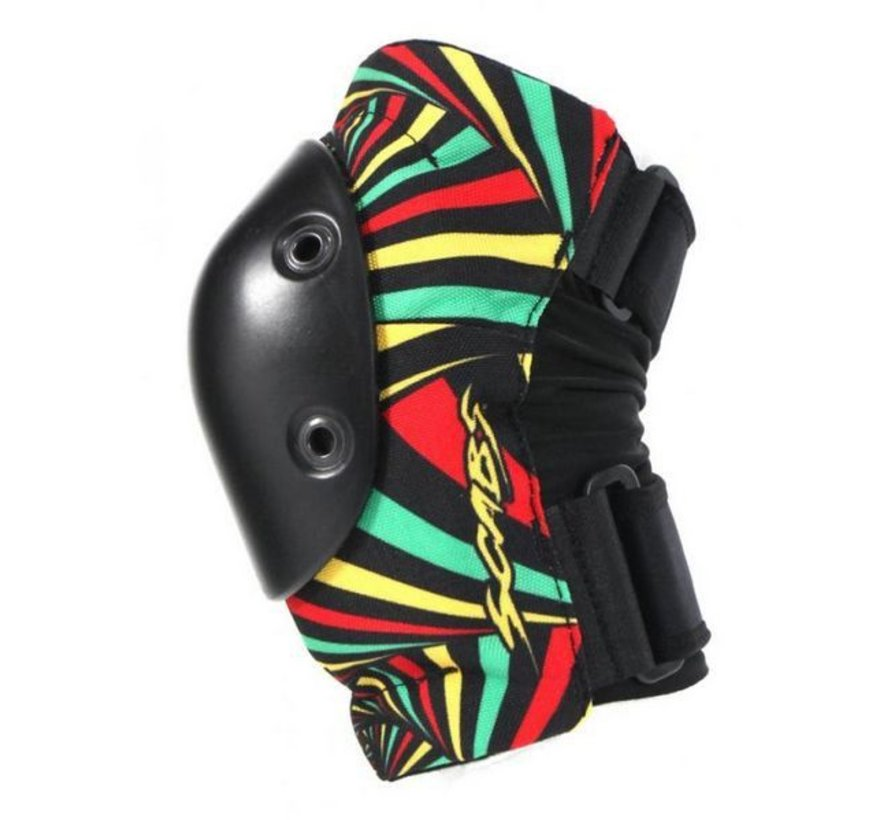 Set van twee elleboogbeschermers maat Adult L/XL van Smith Safety Gear met toffe rasta print.