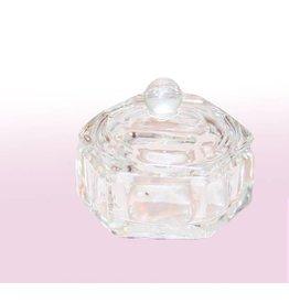 Merkloos Glazen dappenglaasje met deksel Crystal