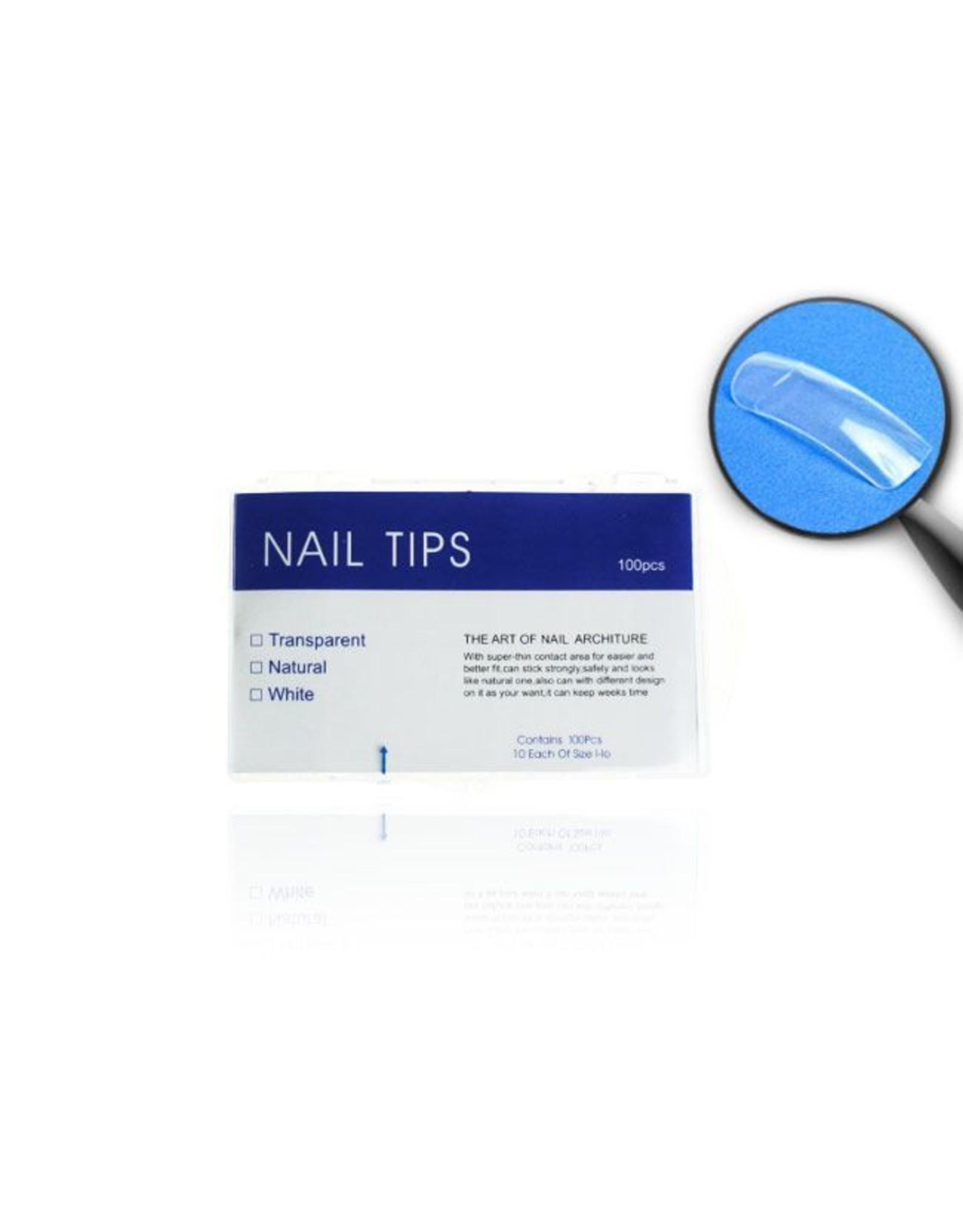 Merkloos Tips clear tipbox 100 stuks met kort opzetstuk